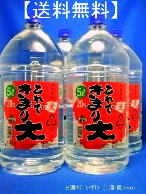 【送料無料】本格むぎ焼酎20° これできまり大 20度 5000ml(ケース4本) ペットボトル 鹿児島県 若松酒造